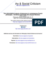 Two Re Foundation Projects of Democracy in Contemporary French Philosophy, Castoriadis and Ranciere