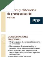 Criterios y elaboración de presupuestos de ventas
