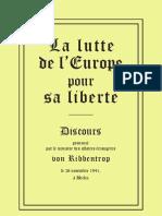Von Ribbentrop Joachim - Discours - La lutte de l'Europe pour sa liberté