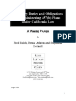 Fiduciary Duties and Obligations in Administering 457(b) Plans Under California Law