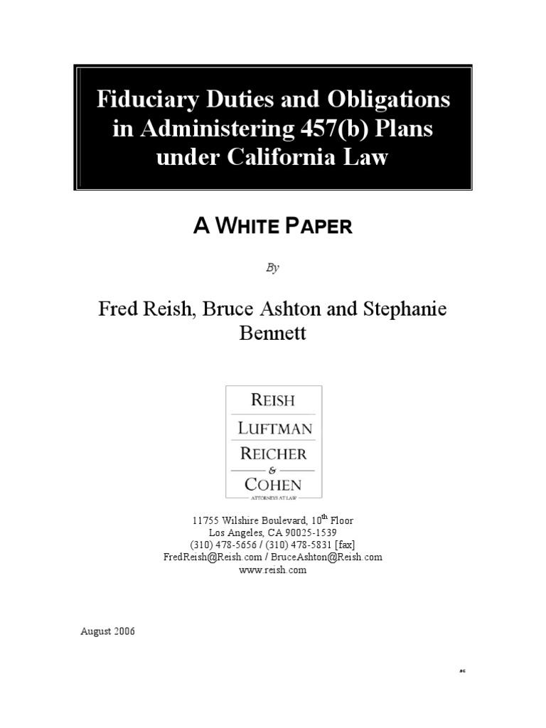 Fiduciary Duties and Obligations in Administering 457(b