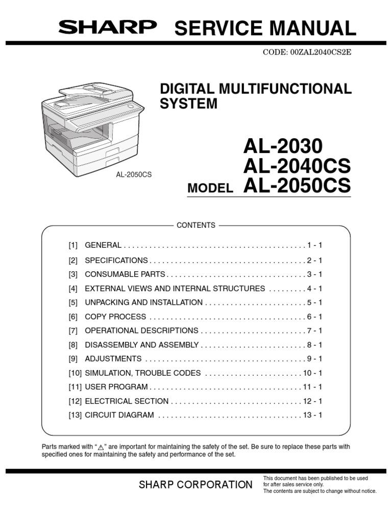 manual de servicio sharp al 2030 2040cs 2050cs image scanner rh scribd com Driver Sharp Al 1631 manual de servicio copiadora sharp al 1631