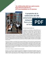 A propósito de la celebración del 190 aniversario patrio de la independencia del Peru y la celebracion de la peruanidad en el exterior