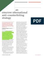 Developing an International Anti Conterfeiting Strategy
