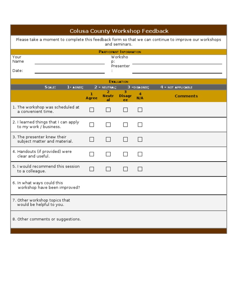 Sample Workshop Feedback Form