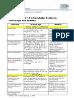 Feature Advantage Benefit (CelCulture CO2 Incubator Range)