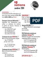 planning formation microlithe Sept 2011 - Decembre 2011