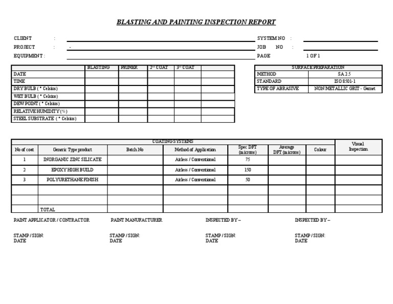 inspection report templates