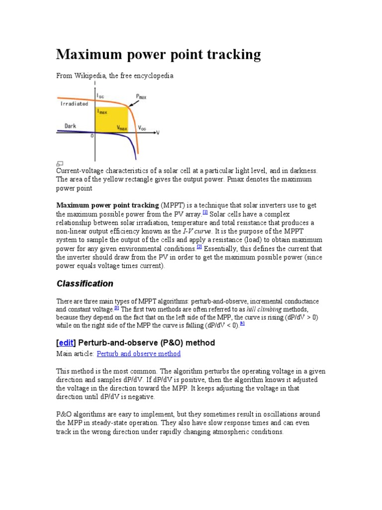 Maximum Power Point Tracking Photovoltaics Physical Quantities Of A Solar Cell Currentvoltage V Curve Shortcircuit Current