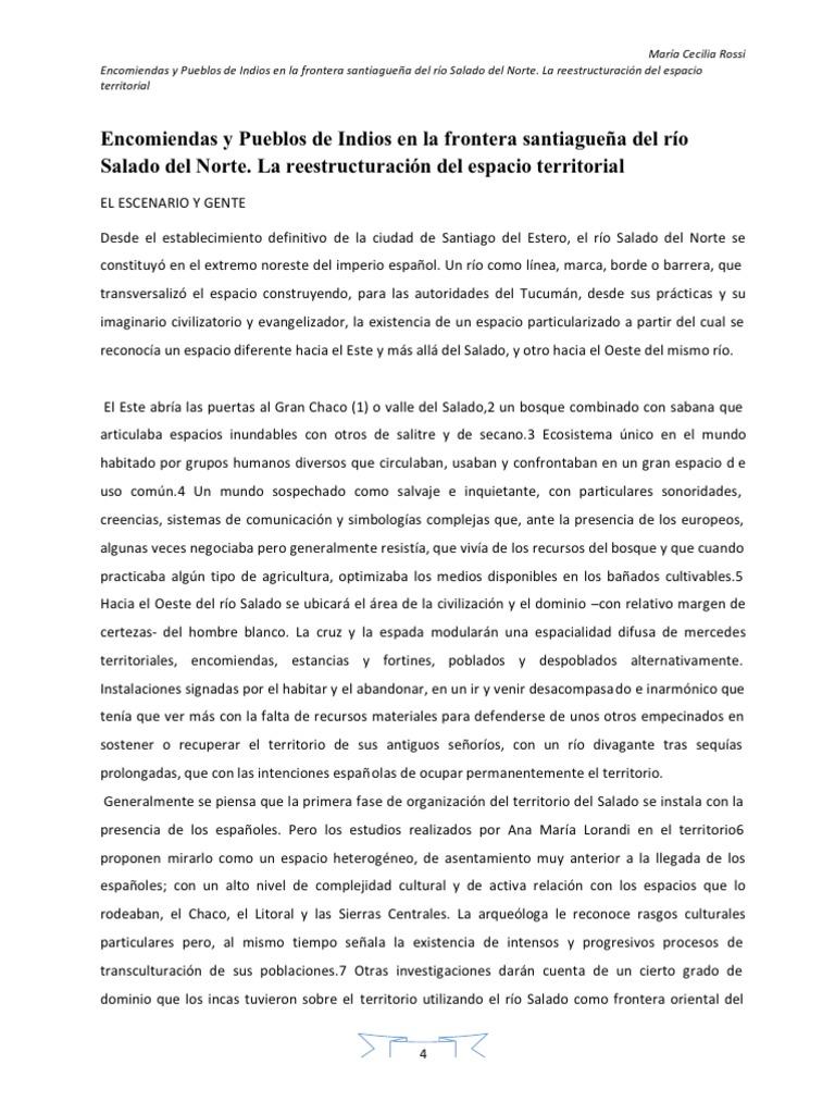 Encomiendas y Pueblos de Indios en la frontera santiagueña del río ...