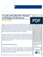 A Look at the IEA 2011 Release of Strategic Oil Reserves