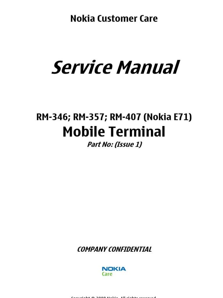 nokia e71 rm 346 rm 357 rm 407 sm l3 l4 electrostatic discharge rh scribd com nokia e71 service manual Nokia E63