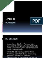 Unit II Planning