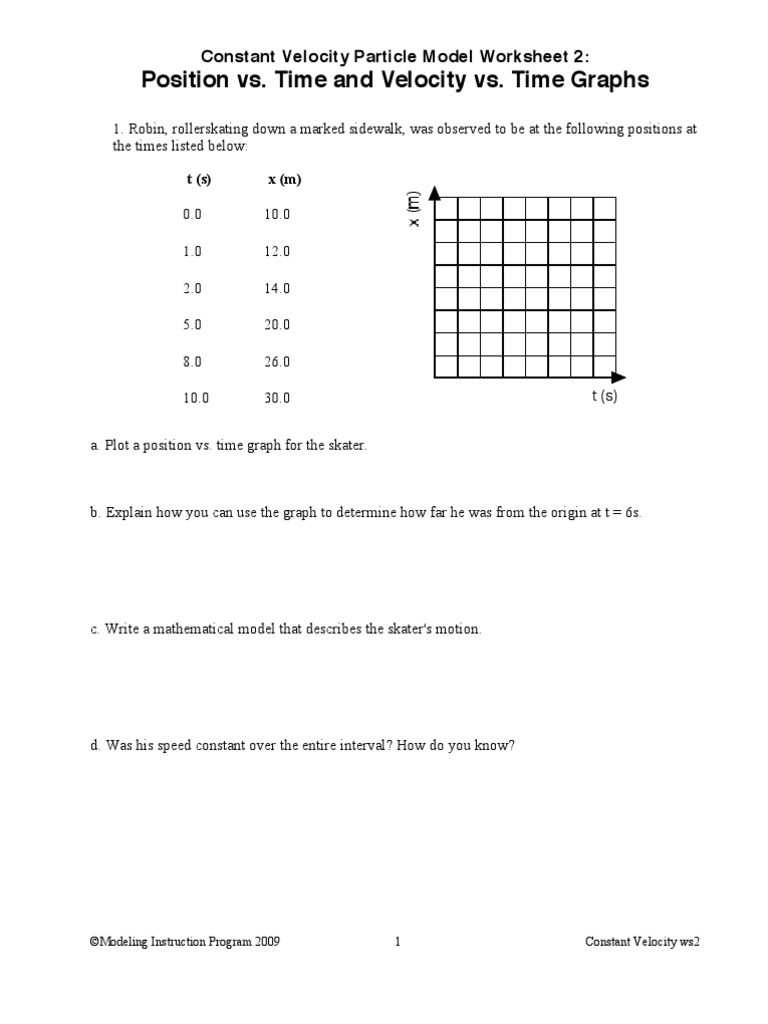 Constant Velocity Particle Model Worksheet 3 Position Vs ...