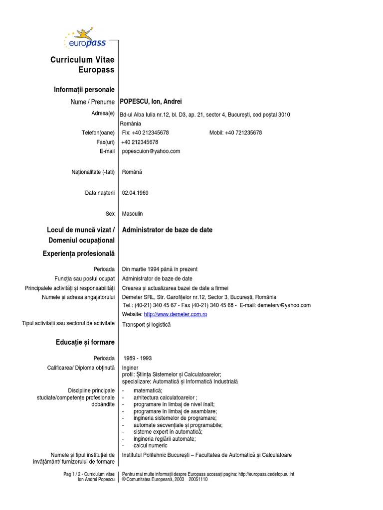 model cv european completat