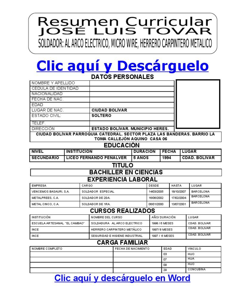 Nett Formato De Resumn Curriculares En Wort Bilder - Entry Level ...