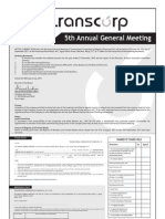 Transcorp 5th Annual General Meeting Notice - September 15, 2011