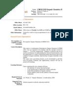 UT Dallas Syllabus for chem2325.001.11f taught by Dennis Smith Jr (dws101000)