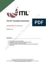 ITIL Foundation Examination SampleA v4.2 VXT 20110729