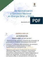 Foro de Normalizacion y Contexto Nacional en Energias Solar y Eolica