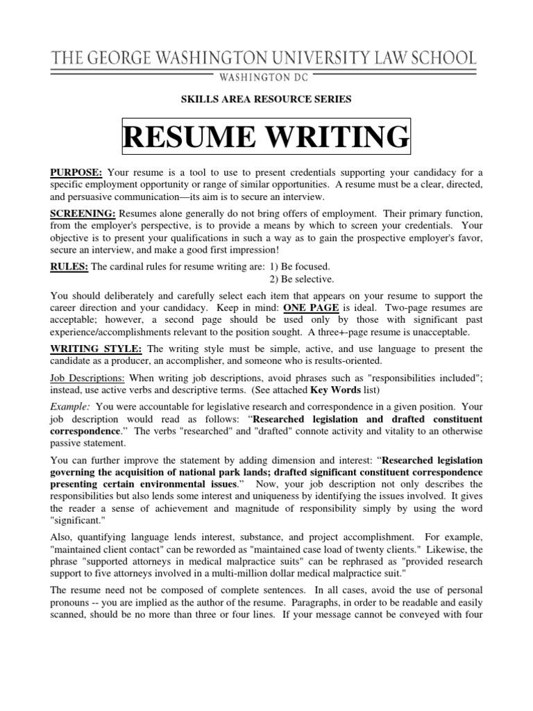 Resume Writing George Washington University Law Schools Skill