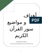 أهداف و مواضيع سور القرآن