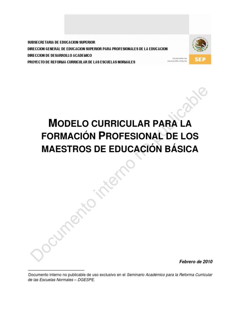 Modelo Curricular Para La Formacion Profesional de Los Docentes de ...