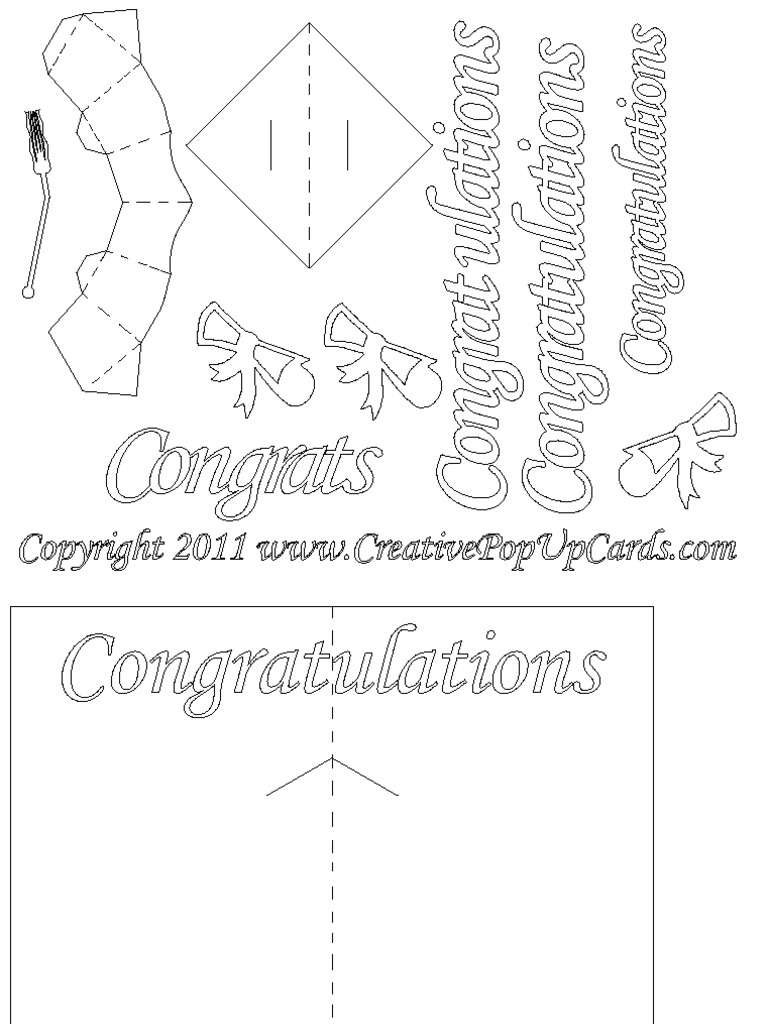 Graduation Pop Up Card 3D Cap Template