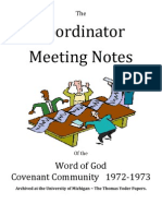 Coordinator Meeting Notes of the Word of God 1972-73