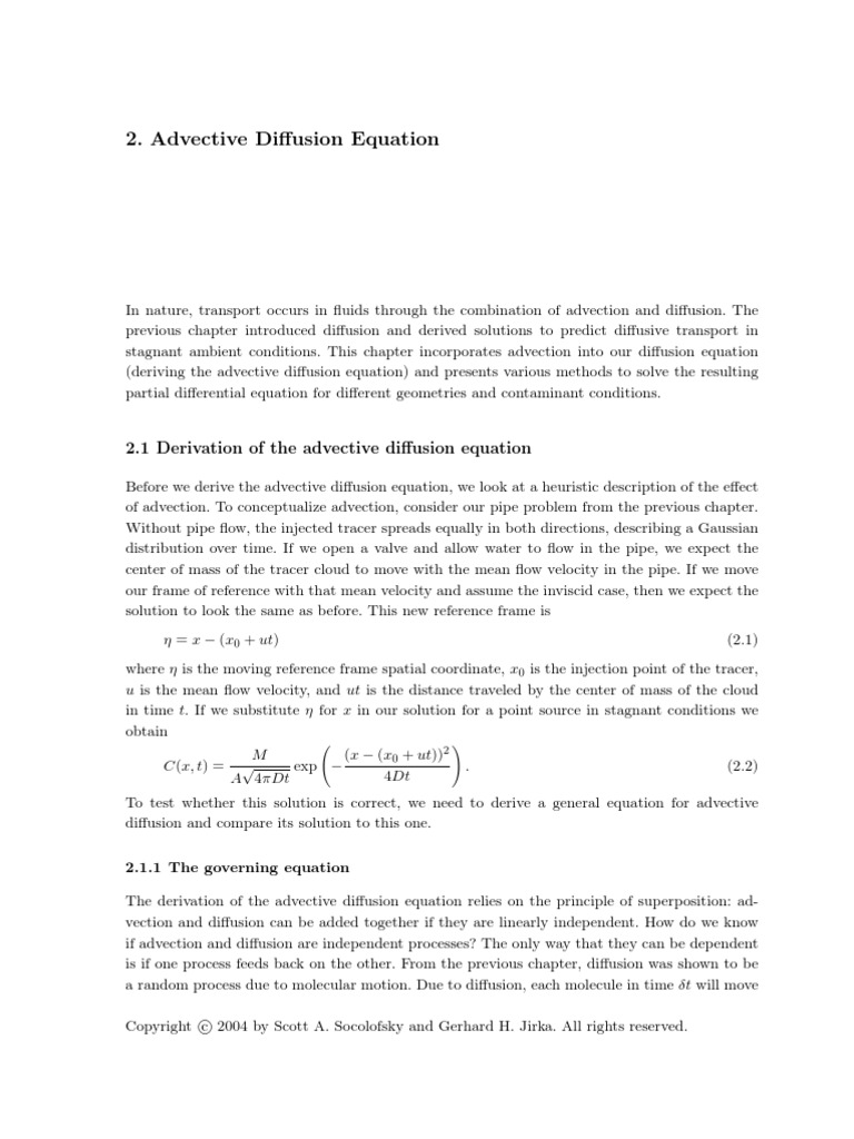 Ch2 Advection Diffusion Equation | Equations | Physics & Mathematics