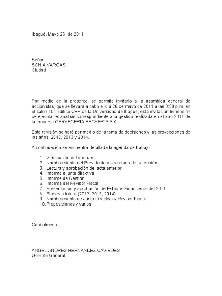 CARTAS INVITACION asamblea