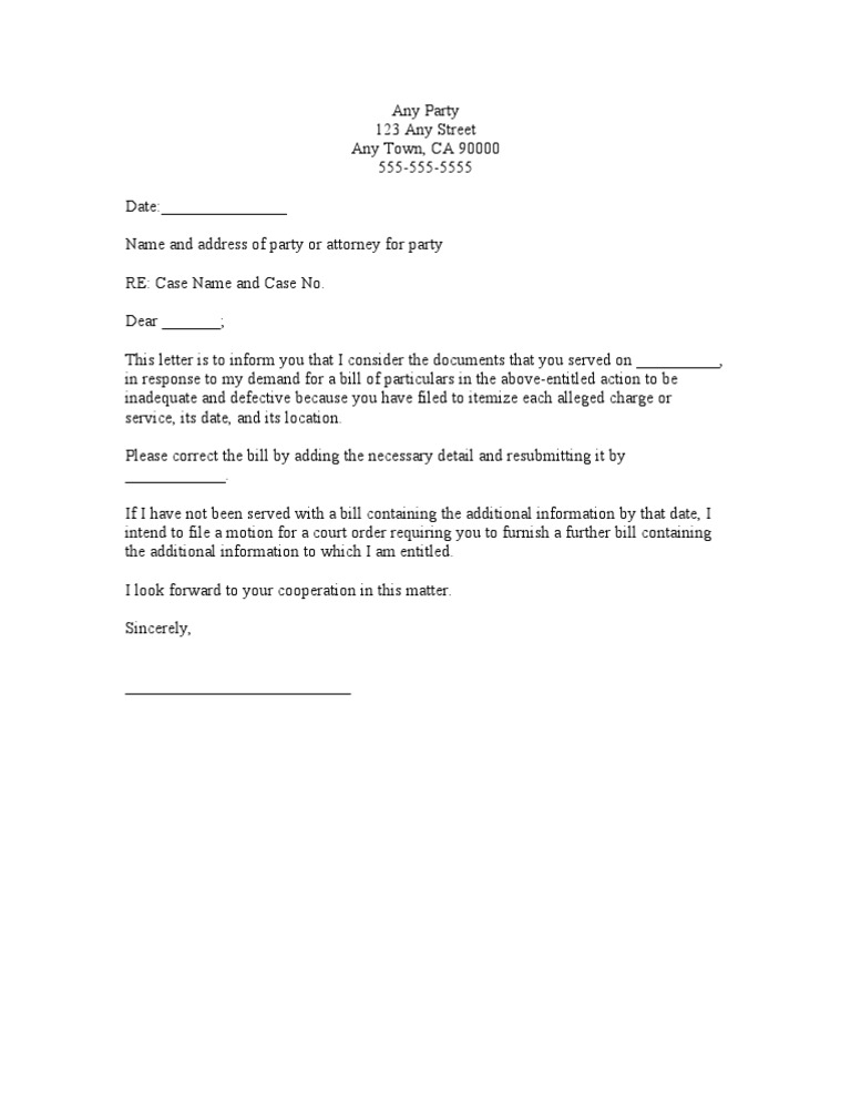 Sample demand letter for further bill of particulars thecheapjerseys Gallery