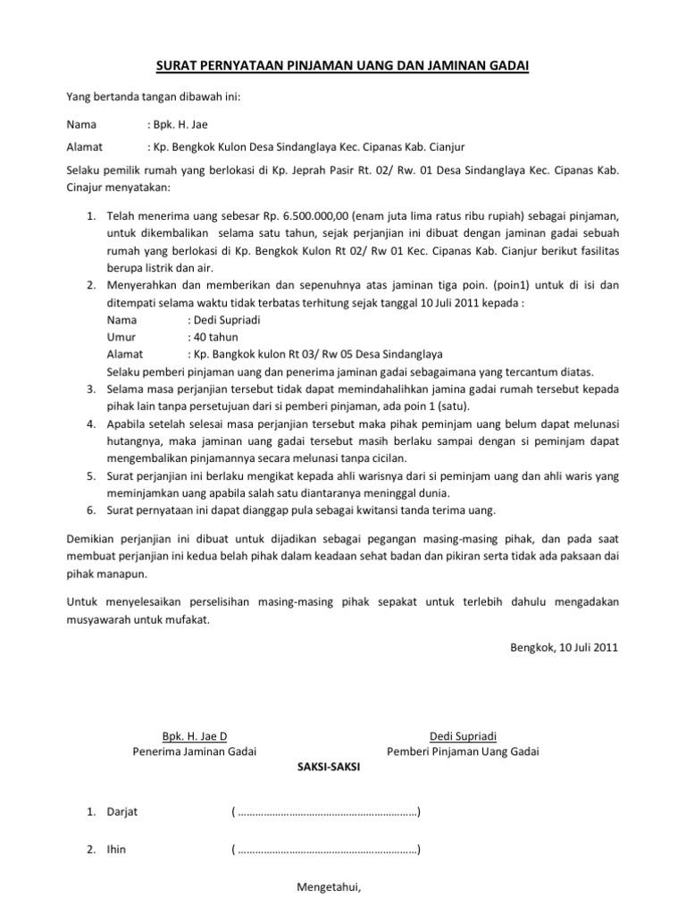 Surat Pernyataan Pinjaman Uang Dan Jaminan Gadai