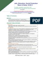 Health, Education, Social Protection News & Notes 16/2011