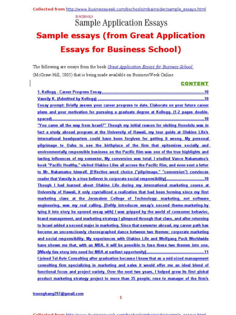 sample essays from great application essays for business school sample essays from great application essays for business school master of business administration marketing