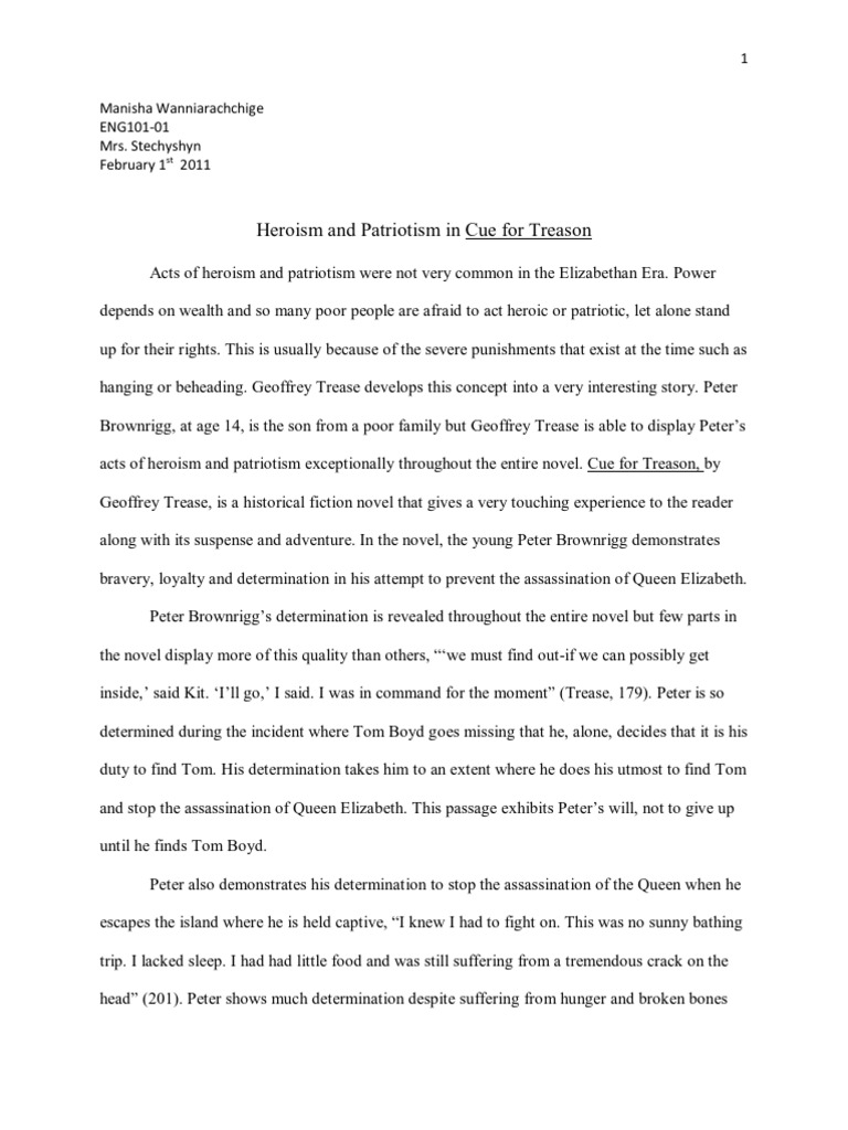 cue for treason heroism and patriotism final