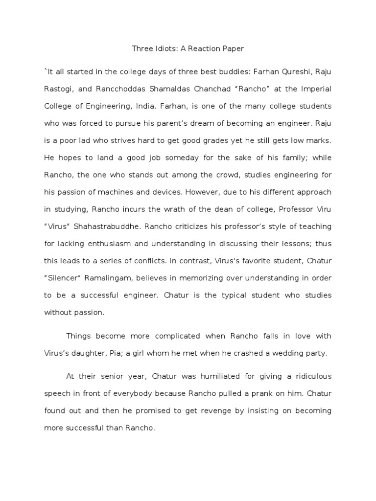 3 idiots reaction paper essay
