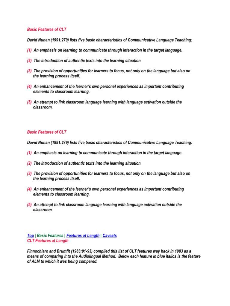 Basic Features of CLT   Sociolinguistics   Linguistics
