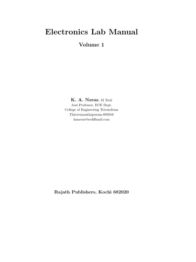 Electronics Lab Manual 1 | Bipolar Junction Transistor | Electronic  Oscillator