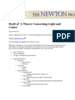 Draft of 'a Theory Concerning Light and Colors' (Normalized Version)