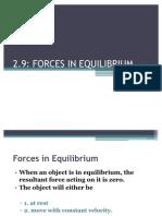 2.9 Equilibrium in Forces