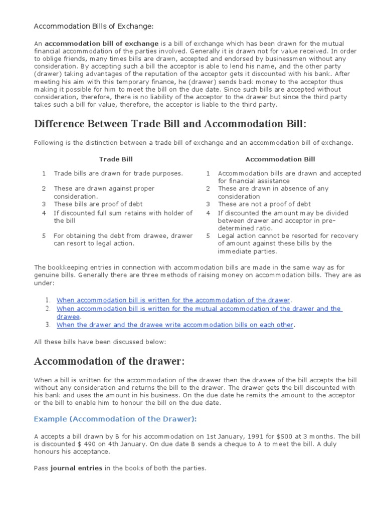 Accommodation bills of exchange negotiable instrument cheque altavistaventures Choice Image