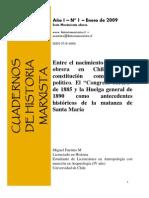 """Entre el nacimiento de la clase obrera en chile y su constitución como sujeto político. El """"congreso obrero"""" de 1885 y la huelga general de 1890"""