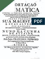 Exhortaçaõ Dogmatica Contra a Perfidia Judayca