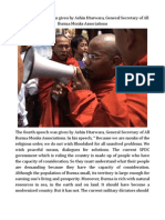 The Fourth Speech Was Given by Ashin Htarwara, General Secretary of All Burma Monks Associations.
