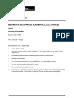 Adv Business Calculations L3 Singapore) Past Paper Series 4 2010
