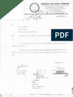 Dr. Brajabashi Sarkar - regarding permision letter for holding international seminar by the department of Hindi, Ranchi Colloeg, Ranchi. Released August 1, 2011