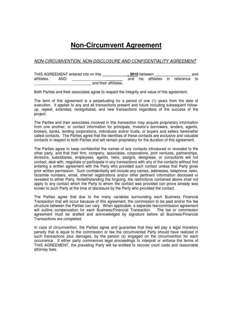 non circumvention non disclosure agreement template - ncnd sample non disclosure agreement financial transaction