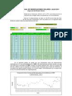 Resumen Mensual de Observaciones Solares - Julio 2011