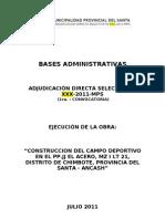 Pre Bases de Obra Complejo Deportivo Mz i Lote 21 - Urb. El Acero